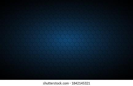 Dark blue hexagon carbon fiber textured background. Navy blue honeycomb metal texture steel background. Web design template vector illustration EPS 10.