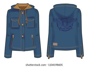 Dark blue hooded jacket with zip closure, pockets and bold embroidery on the back