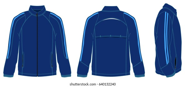 Dark Blue Jacket Design Vector and Double Blue Lines.