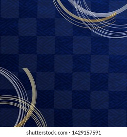 Dark Blue Japanese Checkered pattern  and Gold Curved String Decor
