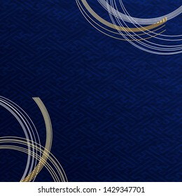Dark Blue Japanese ground pattern  and Gold Curved String Decor