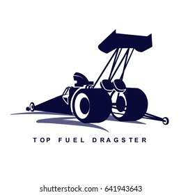 The dark blue logo of top fuel dragster car on white background.(EPS10 Art vector)