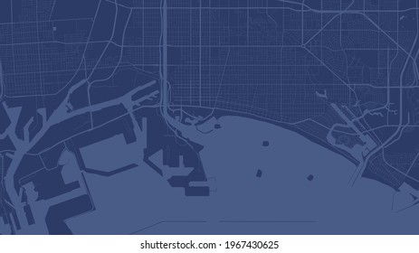 Dark blue Long Beach city area vector background map, streets and water cartography illustration. Widescreen proportion, digital flat design streetmap.