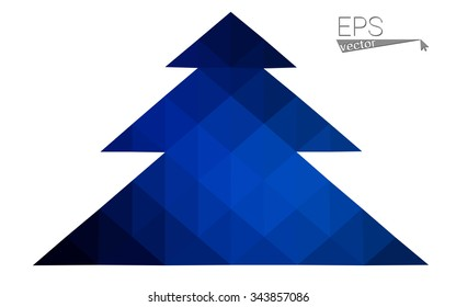 Dark blue low polygon style christmas tree vector illustration consisting of triangles . Abstract triangular polygonal origami or crystal design of New Years celebration. Isolated on white background.
