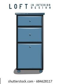 Dark blue nightstand. Loft in interior design eps 10 illustration