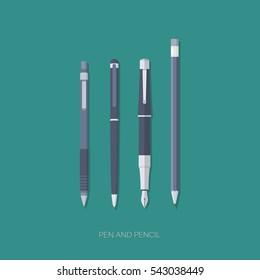 Dark blue pen, a fountain pen, pencil and mechanical pencil flat design vector illustration