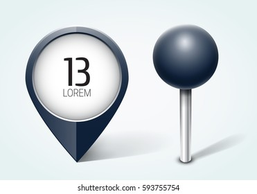 Dark blue pin / Map pointer / Location  icon. Concept of route, landmark, adventure, explore. Vector illustration.