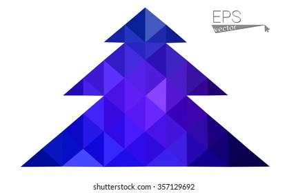 Dark blue, pink low poly style christmas tree vector illustration consisting of triangles.Abstract triangular polygonal origami or crystal design of New Years celebration.Isolated on white background