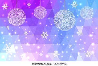 DARK BLUE, pink, purple vector christmas postcard low polygon background. Illustration consisting of triangles. Abstract triangular polygonal origami or crystal design of New Year celebration.