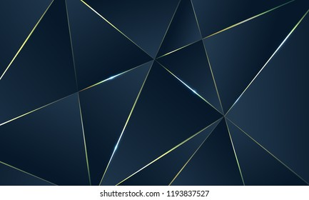 Dark blue Premium background with luxury polygonal pattern and gold triangle lines. Low poly gradient shapes luxury gold lines vector. Rich background, premium triangle polygons royal blue design.