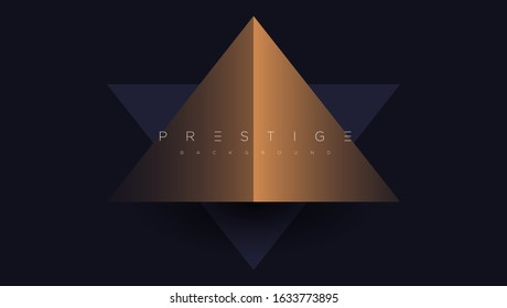 Dark blue premium background with luxury golden geometric elements triangle, circle etc. Prestige background for poster, banner, flyer, cover etc. Vector EPS