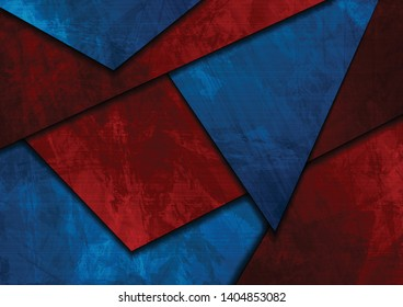 Dark blue and red abstract grunge material background. Corporate vector design