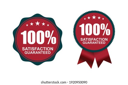 A dark blue and red color of 100 percent Guarantee Logo Sign