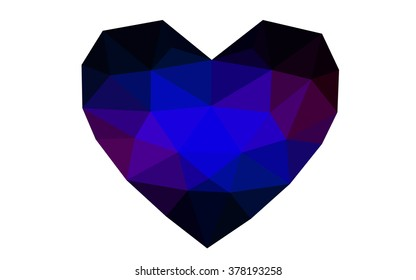 Dark blue, red heart isolated on white background. Geometric rumpled triangular low poly origami style gradient graphic illustration. Vector polygonal design for your business.