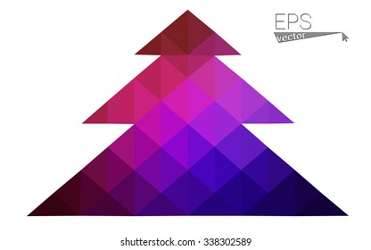 Dark blue, red low poly style christmas tree vector illustration consisting of triangles. Abstract triangular polygonal origami or crystal design of New Years celebration. Isolated on white background