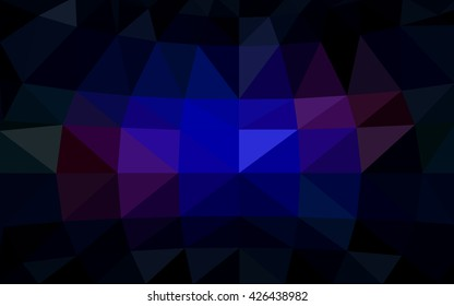 Dark blue, red polygonal illustration, which consist of triangles. Triangular design for your business. Geometric background in Origami style with gradient.