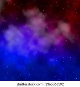 Dark Blue, Red vector background with small and big stars. Shining colorful illustration with small and big stars. Best design for your ad, poster, banner.