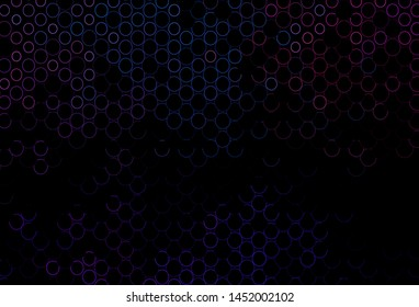Dark Blue, Red vector pattern with spheres. Abstract illustration with colored bubbles in nature style. Pattern of water, rain drops.