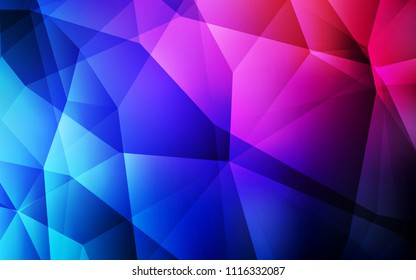 Dark Blue, Red vector polygon abstract backdrop. Glitter abstract illustration with an elegant triangles. Brand new design for your business.