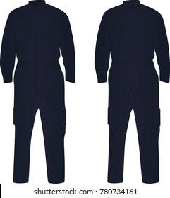Dark blue repairman uniform. vector illustration