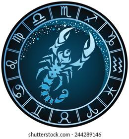 Dark blue round Scorpio zodiac sign. Vector Illustration