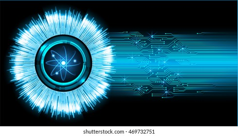 Dark Blue Shining atom scheme. illustration. dark background. digital. infographics. Abstract Technology background for computer graphic website internet and business. Spark