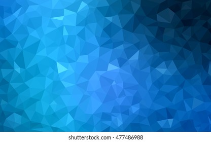 Dark blue shining triangular background. Creative geometric illustration in Origami style with gradient. Triangular pattern for your business design.