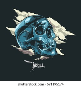 Dark Blue skull t-shirt design