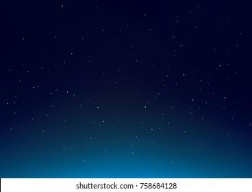Dark Blue Sky with stars vector illustration background.