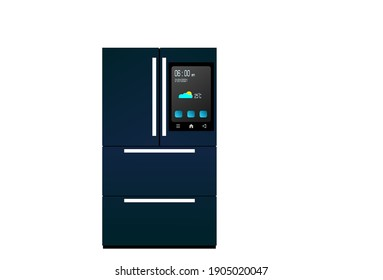 Dark blue smart refrigerator with display on white background. Display show time, date, temperature, and icon.