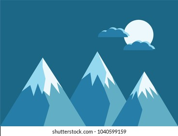 Dark Blue snow covered mountains with clouds and a moon