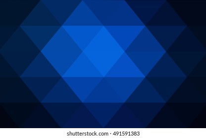 Dark blue triangle mosaic background. Colorful illustration in abstract style with gradient. The elegant pattern can be used as part of a brand book.