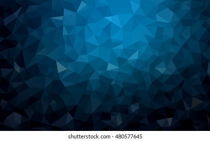 Dark blue triangle mosaic template. Modern geometrical abstract illustration with gradient. Triangular pattern for your business design.