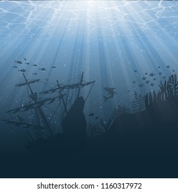 Dark blue under water background with silhouettes of fish and old ship