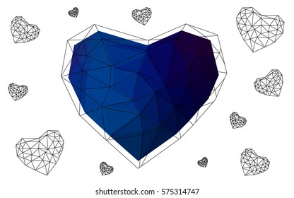 DARK BLUE vector abstract glitter heart shape on white background in love concept for valentine's day with sweet and romantic moment. Polygonal design for your business.