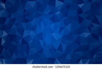 Dark BLUE vector abstract polygonal template. Triangular geometric sample with gradient.  Textured pattern for your backgrounds.