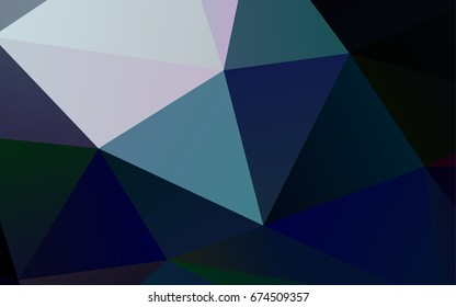 Dark BLUE vector abstract polygonal pattern. Geometric illustration in Origami style with gradient.  The elegant pattern can be used as part of a brand book.
