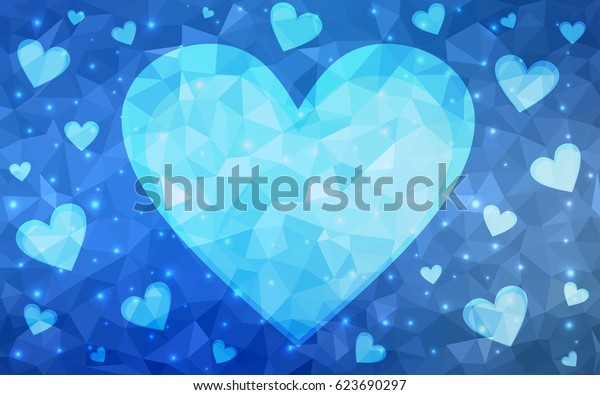 Dark Blue vector abstract Triangle Geometrical Heart on white polygonal background. Happy Valentine's Day Greeting Card. Stock template for your design.