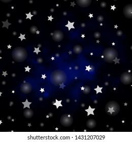 Dark BLUE vector backdrop with circles, stars. Glitter abstract illustration with colorful drops, stars. Texture for window blinds, curtains.