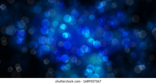 Dark BLUE vector backdrop with dots. Abstract decorative design in gradient style with bubbles. Pattern for business ads.