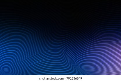 Dark BLUE vector background with abstract ribbons. Glitter abstract illustration with wry lines. The textured pattern for backgrounds.