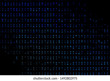 Dark BLUE vector background with cards signs. Colorful gradient with signs of hearts, spades, clubs, diamonds. Pattern for ads of parties, events in Vegas.