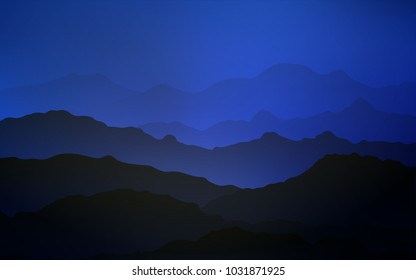 Dark BLUE vector background with curved circles. Colorful illustration in abstract mountain style with gradient. Mountain design for your web site.