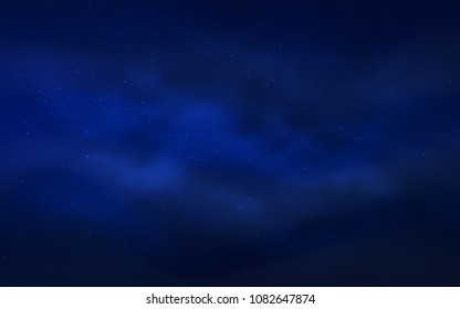 Dark BLUE vector background with galaxy stars. Shining illustration with sky stars on abstract template. Best design for your ad, poster, banner.