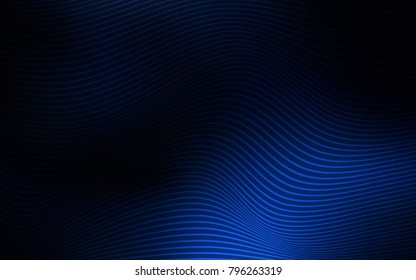 Dark BLUE vector background with lines. Shining illustration, which consist of blurred lines. The elegant pattern of a brand book.