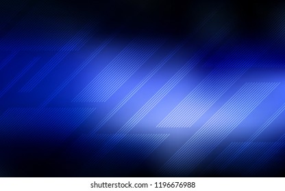 Dark BLUE vector background with straight lines. Shining colored illustration with sharp stripes. Best design for your ad, poster, banner.