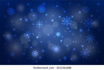 Dark BLUE vector background with xmas snowflakes. Snow on blurred abstract background with gradient. New year design for your business advert.