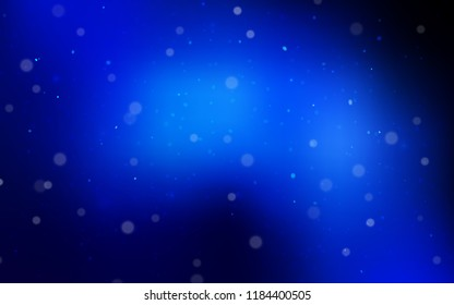 Dark BLUE vector background with xmas snowflakes. Snow on blurred abstract background with gradient. New year design for your ad, poster, banner.