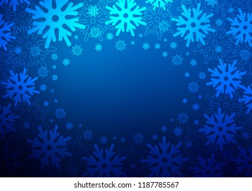Dark BLUE vector background with xmas snowflakes. Shining colored illustration with snow in christmas style. The pattern can be used for new year leaflets.