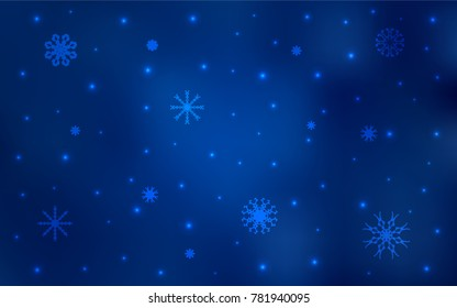 Dark BLUE vector cover with beautiful snowflakes. Modern geometrical abstract illustration with crystals of ice. New year design for your business advert.